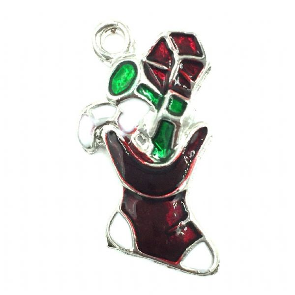 Christmas charm - stocking - rhodium plated - red white green enamel - 15mm x 25mm